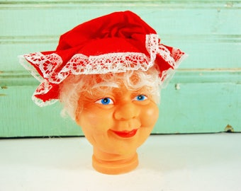 Vintage Mrs. Santa Plastic Doll Head with Curly Hair and a Red Cap