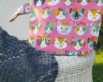Project Bag, Large Project Bag, Knitting Bag, Crochet Bag, Knitting Pouch, Accessory Pouch, Travel Pouch, Kitty Project Bag