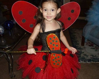 Lady Bug Costume Flower Girl Tutu Dress with Wings and Antenna Headband