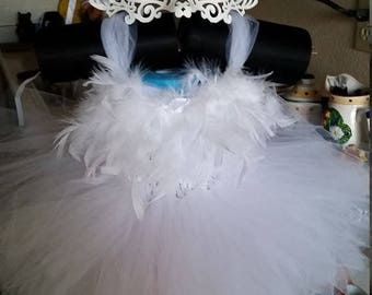 Wedding Birthday White,Black Swan with Feathers Costume Tutu Dress with Mask or other colors