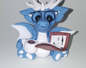 MADE TO ORDER Polymer clay reading coffee dragon