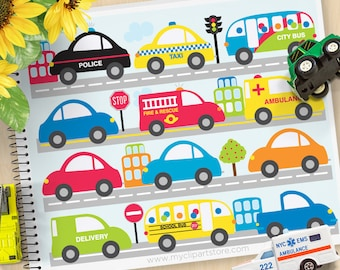 City Vehicles, Cars, Trucks Clipart, City Transport, trucks, ambulance, police, Personal and Commercial Use Vector Clip Art, SVG Cut Files