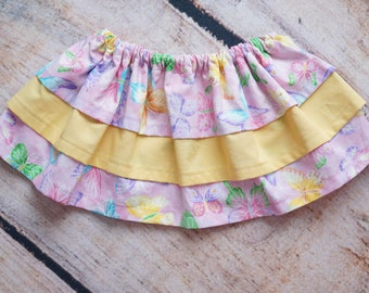 Ruffle Skirt for Baby, Tiered Ruffle Skirt, Yellow and Pink Skirt, Butterfly Toddler Skirt, Birthday Outfit, Baby Girl Skirt, Three Tier