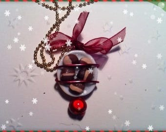Chocolate Christmas ref 69 plate pendant necklace