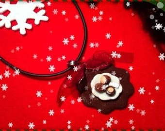 Chocolate Christmas ref 56 plate pendant necklace