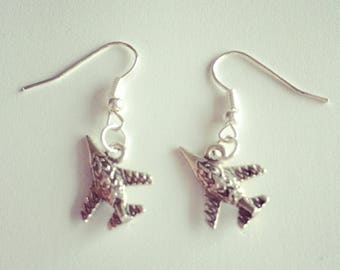 Small earrings silvered fighter aircraft