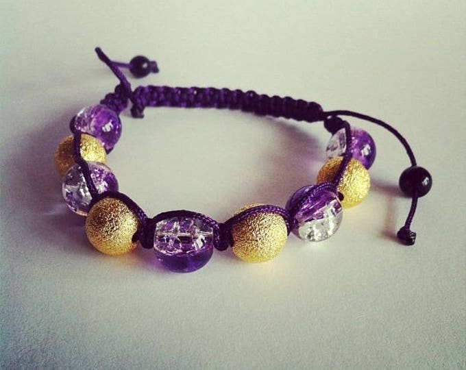 Adjustable Shamballa bracelet purple Crackle glass beads