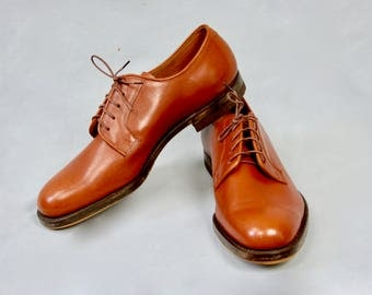 Vintage 1960s Real Leather Men's  Lace Up Tie Shoes Size 8 UK LeeKee Shoes Kowloon