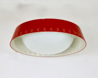 Original Retro 1950s Red Enamel and Glass Flush Mount Ceiling Lighting Fixture Lamp