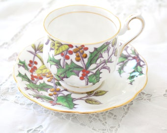 TEA CUP, English Bone China Tea Cup and Saucer By Royal Albert, Flower of the Month Series, Holly Pattern, Christmas Gift Inspiration