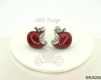 Disney Princess Snow White Red Apple Sterling Silver Earrings Swarovski Crystal Descendants