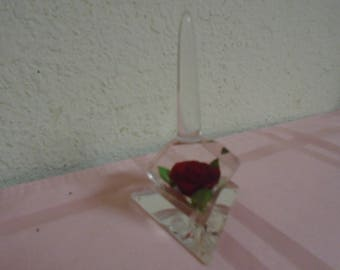 Gorgeous Vintage Lucite Ring Holder / 1950's / Red Roses! Mint Condition