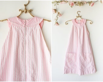 Girly Pink and White Candystriped Dress - Vintage 1960's Mini Dress - Pastel Trapeze Dress - Size Extra Small