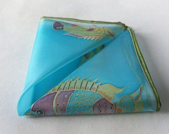 Silk handkerchief, turquoise pocket square, fishing gift, small gift idea, painted silk hankie - ready to ship