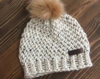 Child Oatmeal Pom Hat