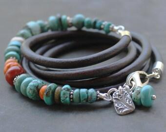 Bohemian Turquoise Leather Bracelet, boho wrap bracelet turquoise, spiny oyster, silver beaded bracelet stacking bracelet festival jewelry