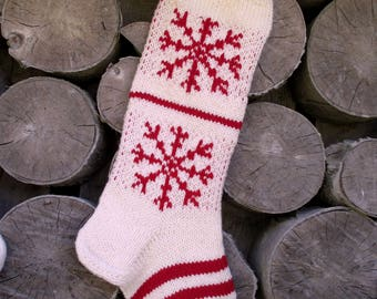 Christmas Stocking Personalized knit Wool Stripes White  Cranberry Red with Tree Deer Snowflakes ornament