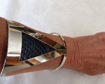 leather Cuff Bracelet and silver, blue leather.