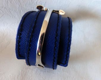 Bracelet leather and metal silver manchettte