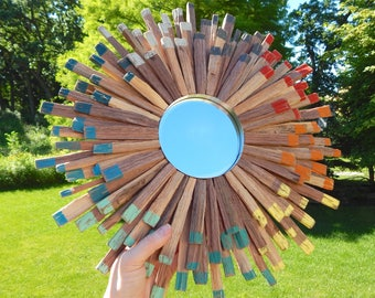 AVAILABLE Colorful Flower Power Sunburst Mirror Made from Reclaimed Walnut Wood, READY to SHIP