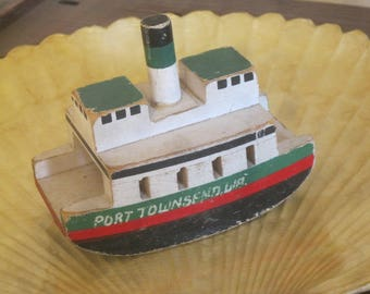 Wooden Toy Boat , Port Townsend Washington Toy Boat , Ferry Boat Toy