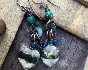 Rustic Jewelry . Casual Earthy * Indigo Blue * earrings n345 - Earthy Natural . Organic Jewelry . Artisan Lamp work  Sparkling Glass beads