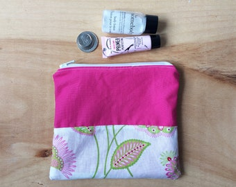 Mini Makeup Bag - Zipper Coin Pouch - Pink, Green, White, Credit Card Holder, Floral, Small Accessories Bag, Phone Travel Pouch, Organizer