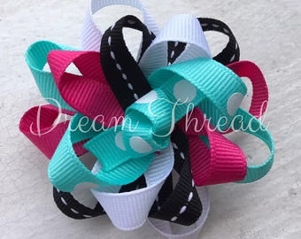 Boutique flower loop Hairbows, Baby Boutique Bows, HairBows, Flower Hairbows, Solid color hairbows, girls (made to order)