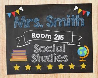 Social Studies Teacher Door Sign. PRINTABLE. History Teacher name room number sign. teacher Classroom Decor Decorations. Back to School