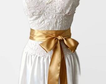 Gold Satin Sash, Bridal Sash Belt Satin, 2, 3 or 4 Inch Wide Sash, Bridesmaids Satin Belt Gold