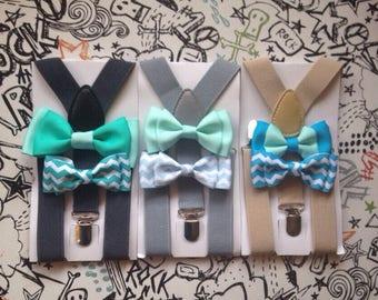 Mint Bow tie Suspenders Baby Boy Bowtie Men Bow ties Seafoam Blue Bowties Tan Braces Groomsmen Light Gray Ring Bearer Outfit Birthday Gift