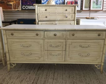 Thomasville Faux Bamboo 9 Drawer Dresser