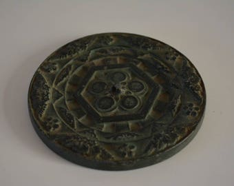 Paper weight, cast iron, Japanese calligraphy or desk accessory, bunchin