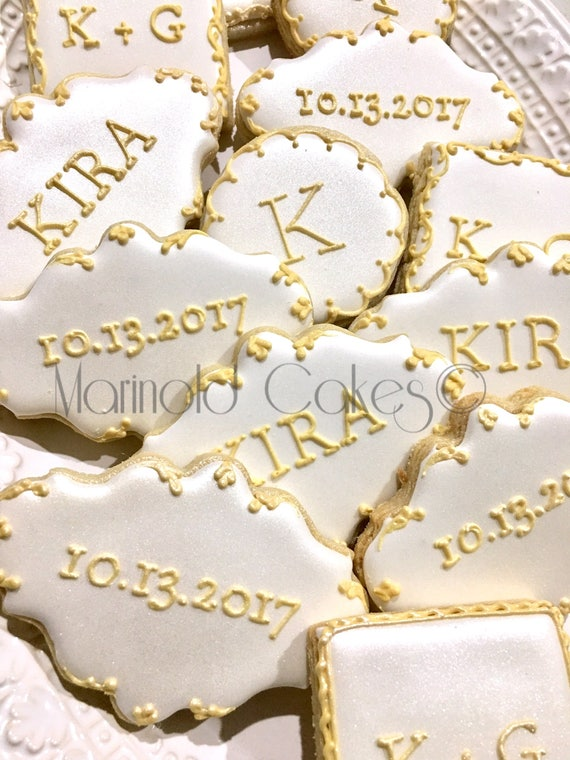 12 Monogram, Message, Date Cookies for Weddings, Showers, and Birthdays