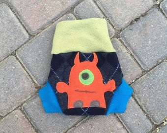 Upcycled Wool Soaker, Shorties, Cloth Diaper Cover with Added Doubler in Wetzone - Dark Blue Argyle with a Monster Applique - size small