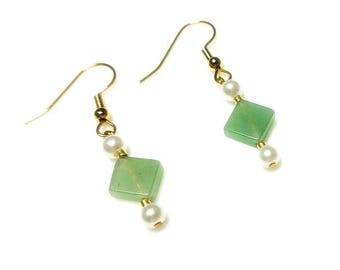Green Serpentine Gemstone Earrings with White Swarovski Crystal Pearl Hypoallergenic Nickel Free Earring Diamond Shaped Stone Beaded Jewelry
