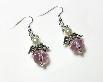 pink glass beads guardian angel earrings with white Swarovski pearls hypoallergenic earrings nickel free earrings dangle drop beaded jewelry