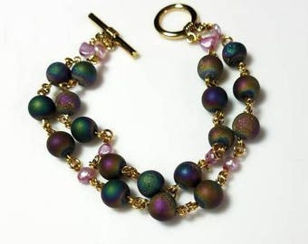 multicolor rainbow agate purple freshwater pearl bracelet multi strand stone bracelet beaded gold jewelry gifts for her Christmas gift