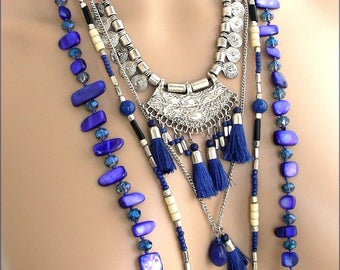 Necklace /Sautoir tassels and charms blue/Indigo/silver - Metal, Pearl and Crystal