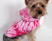 Pink Tie Dye Dog Hoodie, XS S M, Fleece dog coat dog jacket, READY TO Ship Fashion Dog Clothing