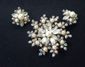 Miriam Haskell Style Brooch and Earrings Faux Pearls