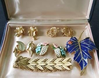 Trifari Jewelry Lot Earrings, Brooch, Bracelet