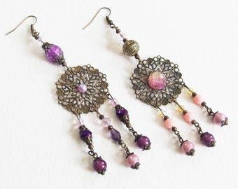 Boucles d'Oreilles - Fantaisie Violette - Perles, Estampes Filigrane, Métal Bronze - Bijou créateur, fait main, pièce unique