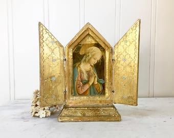 ITALIAN FLORENTINE Triptych Icon - Virgin Mary - Folding Gilt Wood Screen - Aqua Florentia Italy Wooden