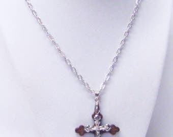 Silver Plated Crucifix on Brown Wood Cross Pendant Necklace