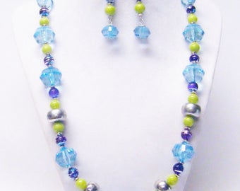 Colorful Mixed Bead Necklace Bracelet & Earrings Set