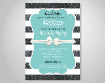Breakfast at Tiffany's Birthday Invitation, Tiffany birthday theme, Baby Shower or Bridal Shower with bow invitation, instant download