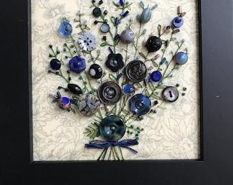 Antique Button Art Bouquet