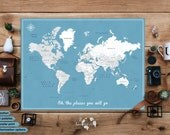 Travel map Poster / World map poster with pins / Push pin world map / fine art print / Gift for traveler / Personalized World travel map