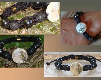 Mens Black Lava Hematite Bracelet Ceramic Raku Bead Woven Black Cord Tibetan Shamaballa Adjustable